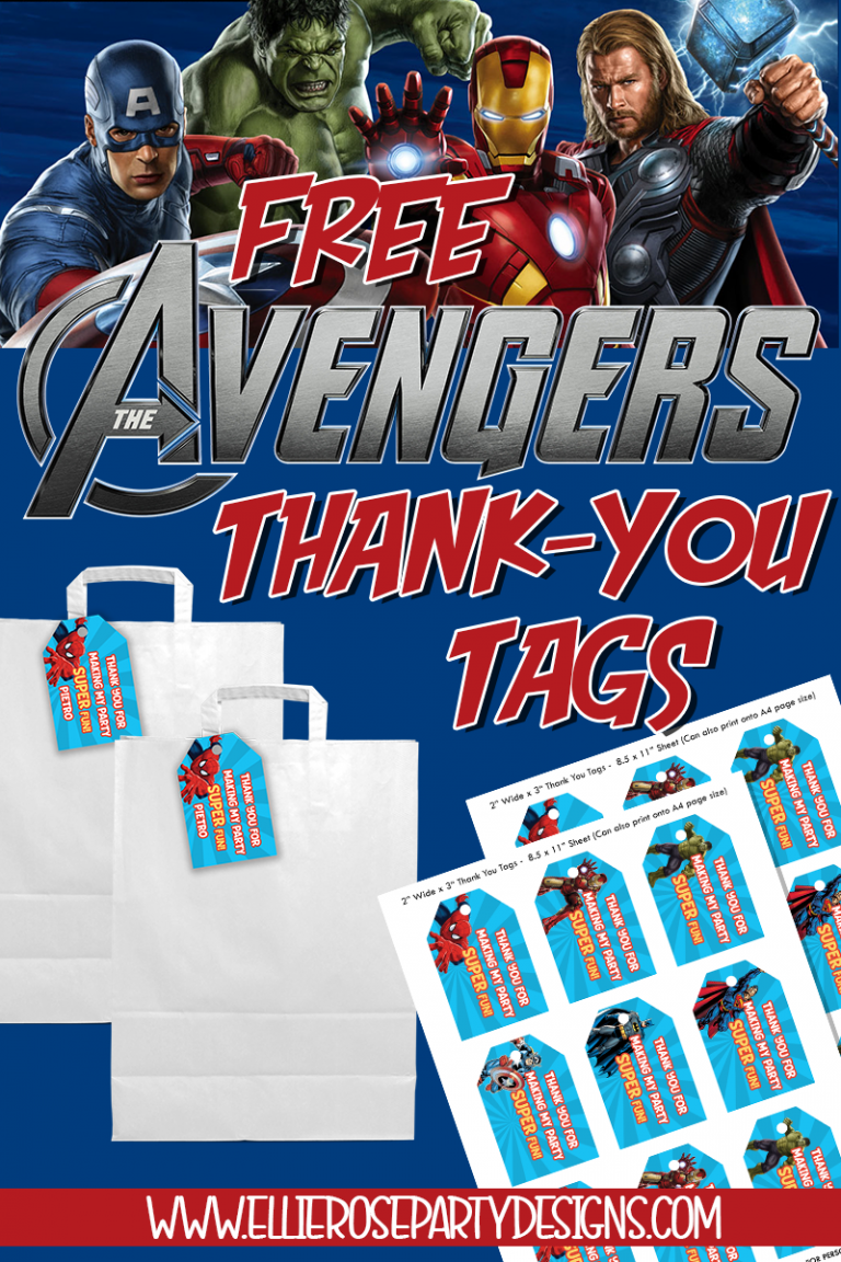 FREE AVENGERS THANK YOU TAG FAVOR BAGS PARTY IDEAS