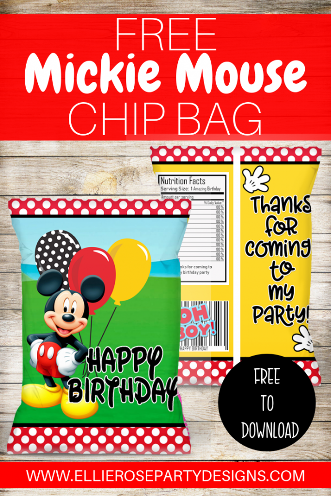 FREE MICKEY MOUSE PARTY FAVOR CHIP BAG PRINTABLE