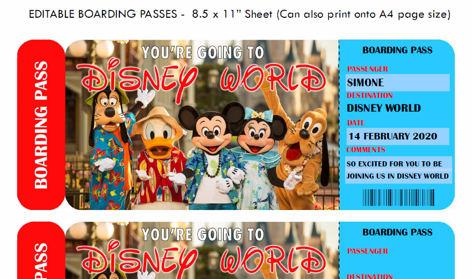 MICKEY MOUSE BOARDING PASS DISNEY WORLD DISNEY LAND