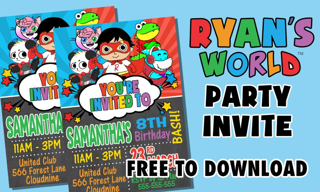 RYANS WORLD EDIBLE DIGITAL PARTY INVITATION FREE TO DOWNLOAD INVITE